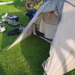 Zelt für den Abend aufgebaut