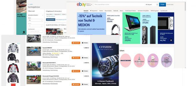 diverse Online-Portale für den Fahrzeugverkauf